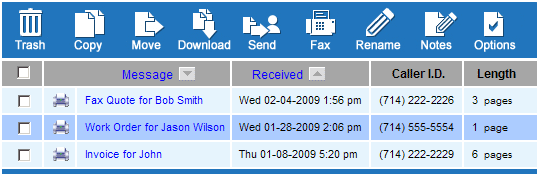 Sample email with a fax attachment in PDF format